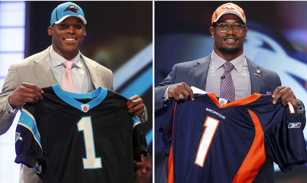 Carolina made Cam Newton the first overall pick out of Auburn in April 2011, but Von Miller wasn't far behind – he went second to Denver from Texas A&M. This will be the first No. 1 vs. No. 2 matchup in a Super Bowl. The Associated Press