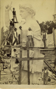 Stonecutters in Hallowell, many of them Italian immigrants, carve a statue in 1877 that was part of the National Monument to the Forefathers in Plymouth, Mass. Photo courtesy Maine Historical Society