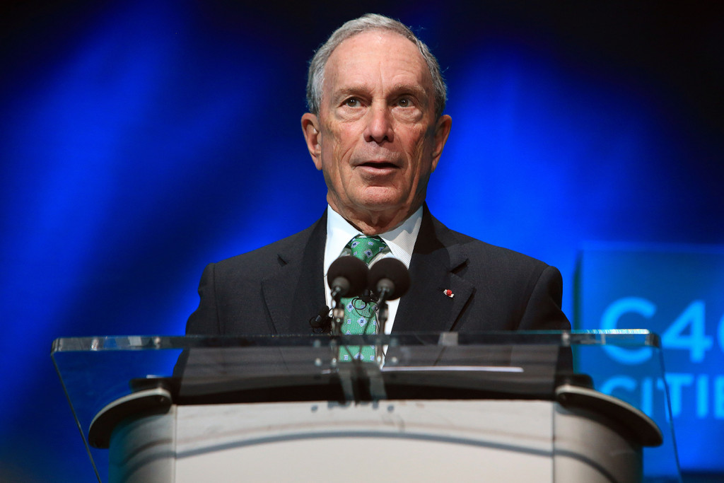 Former New York Mayor Michael Bloomberg speaks during the C40 cities awards ceremony, in Paris, Thursday, Dec. 3, 2015. The Associated Press