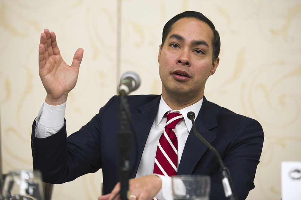 Housing and Urban Development Secretary Julian Castro speaks during a committee session Thursday at the U.S. Conference of Mayors Winter Meeting in Washington. The Associated Press