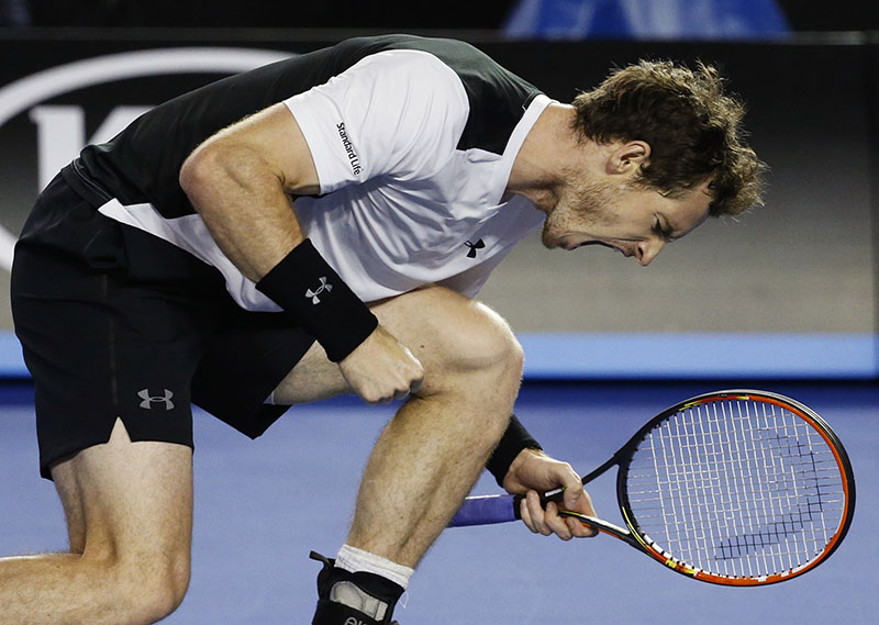Andy Murray of Britain celebrates after winning a point against Milos Raonic of Canada during their semifinal match at the Australian Open tennis championships on Friday.
