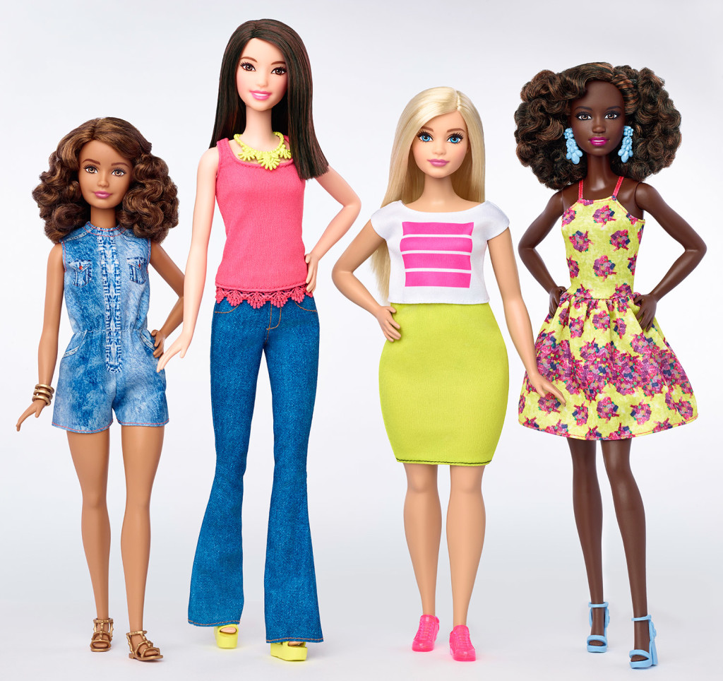 This photo provided by Mattel shows a group of new Barbie dolls introduced in January 2016. Mattel, the maker of the famous plastic doll, said it will start selling Barbie's in three new body types: tall, curvy and petite. She'll also come in seven skin tones, 22 eye colors and 24 hairstyles. The Associated Press