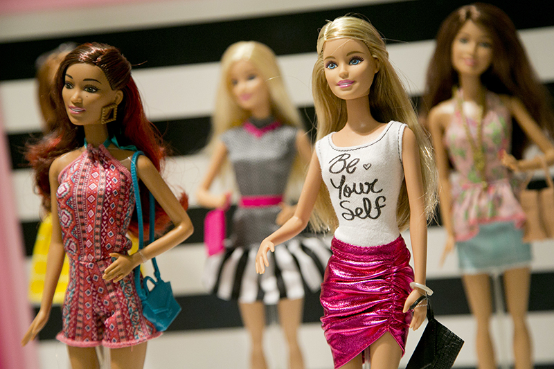Barbie dolls with her traditional, never-seen-in-nature body type.