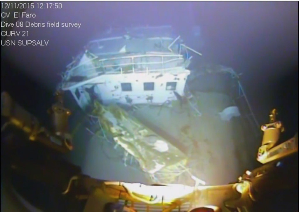 A still shot from video of the wreckage from the El Faro.