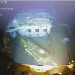 A still shot from video footage of the wreckage from the El Faro. The footage was released  by the National Transportation Safety Board.