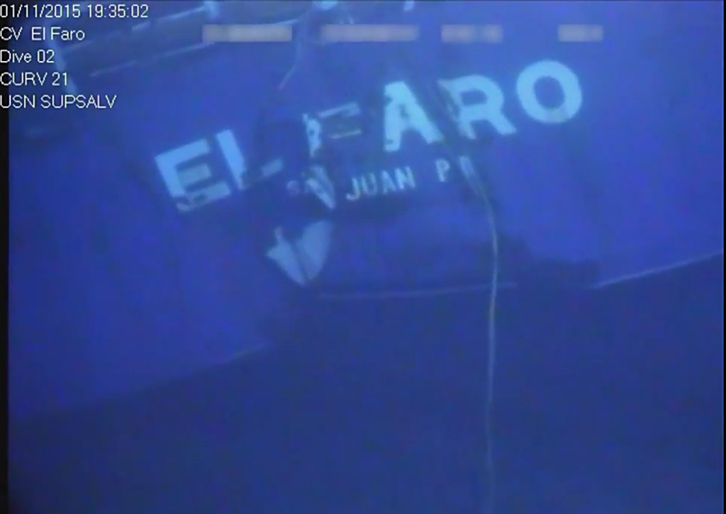 A still shot from video footage of the wreckage from the El Faro. The footage was released Sunday evening by the National Transportation Safety Board.