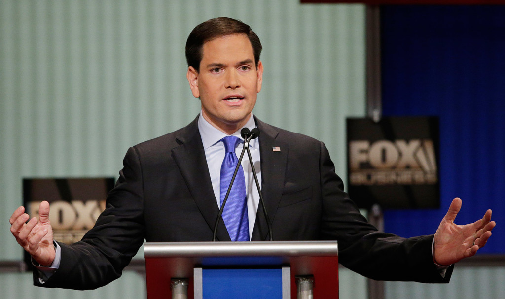 Sen. Marco Rubio of Florida speaks during the Fox Business Network debate Thursday night in North Charleston, S.C. Rubio and New Jersey Gov. Chris Christie tried to cast the other as too liberal and too friendly to President Obama's priorities. The Associated Press