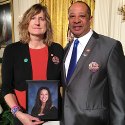 "Judi and Wayne Richardson of South Portland pose at the White House on Tuesday with a picture of their daughter, Darien, while attending President Obama's speech on combating gun violence. Judi Richardson said the event ""was extremely emotional and overwhelming."" Photo courtesy of the Richardsons"