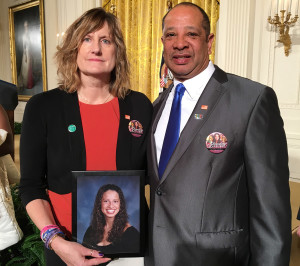 """Judi and Wayne Richardson of South Portland pose at the White House on Tuesday with a picture of their daughter, Darien, while attending President Obama's speech on combating gun violence. Judi Richardson said the event """"was extremely emotional and overwhelming."""" Photo courtesy of the Richardsons"""