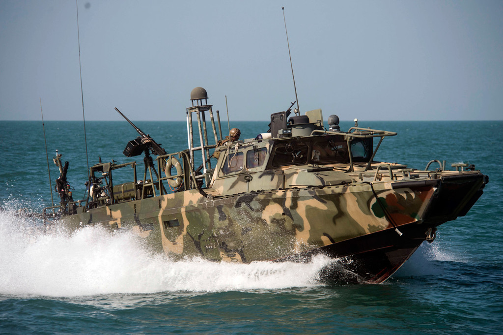 Riverine Command Boat 802 conducts patrol operations in the Persian Gulf. Iran was holding 10 U.S. Navy sailors and their two boats, similar to this one, on Tuesday.