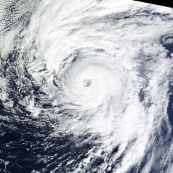 A satellite image acquired on Thursday shows Hurricane Alex over the Atlantic Ocean.
