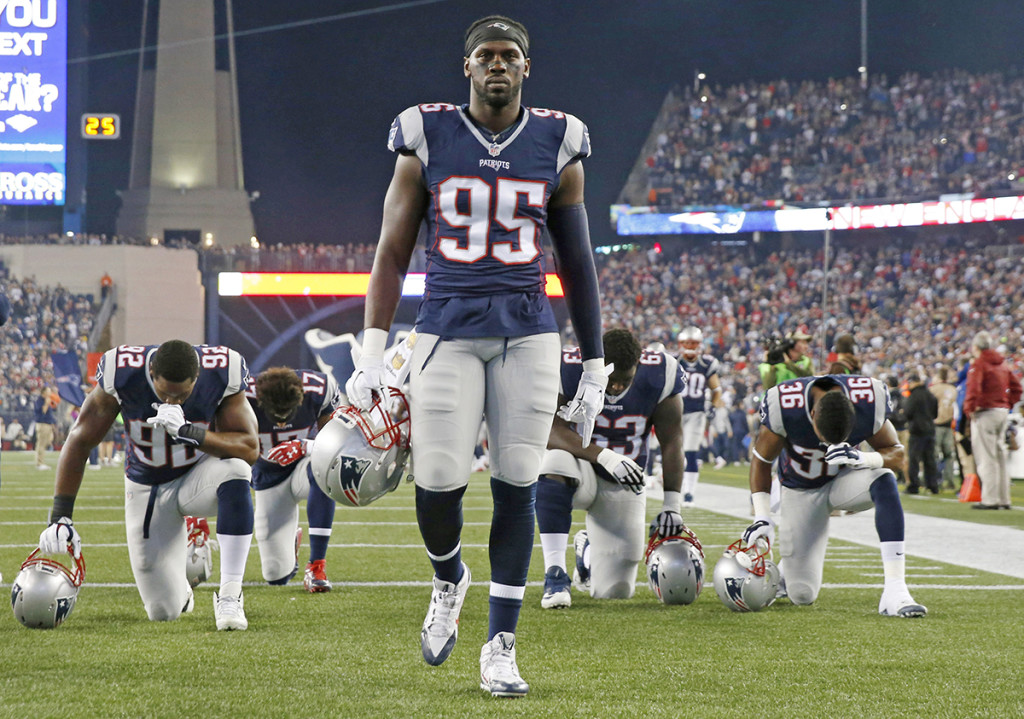 Patriots defensive lineman Chandler Jones was admitted to the hospital on Sunday, Jan. 10, 2016, and released the same day, the team said in a statement that did not elaborate on the nature of the medical issue. The Associated Press