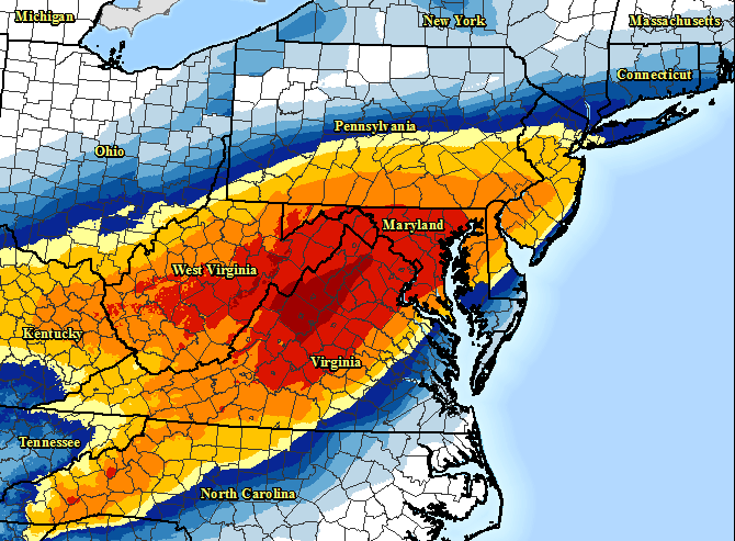 This image provided by National Oceanic and Atmospheric Administration shows a computer model forecasting the chances of a snowstorm hitting the East Coast this weekend.