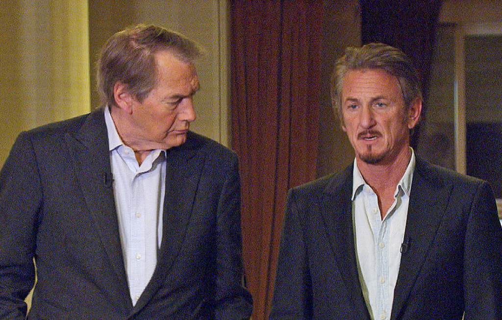 """Charlie Rose interviews actor Sean Penn in Santa Monica, Calif., about Penn's meeting with Mexican drug lord Joaquin """"El Chapo"""" Guzman. The interview aired on Sunday on """"60 Minutes."""" CBS News/60 Minutes via AP"""