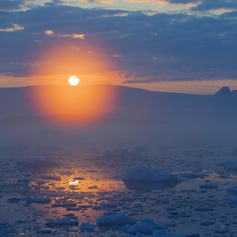 The study suggests that in clear conditions, about 58 percent of meltwater refreezes after sunset, but only 45 percent refreezes when clouds are present. Shutterstock image