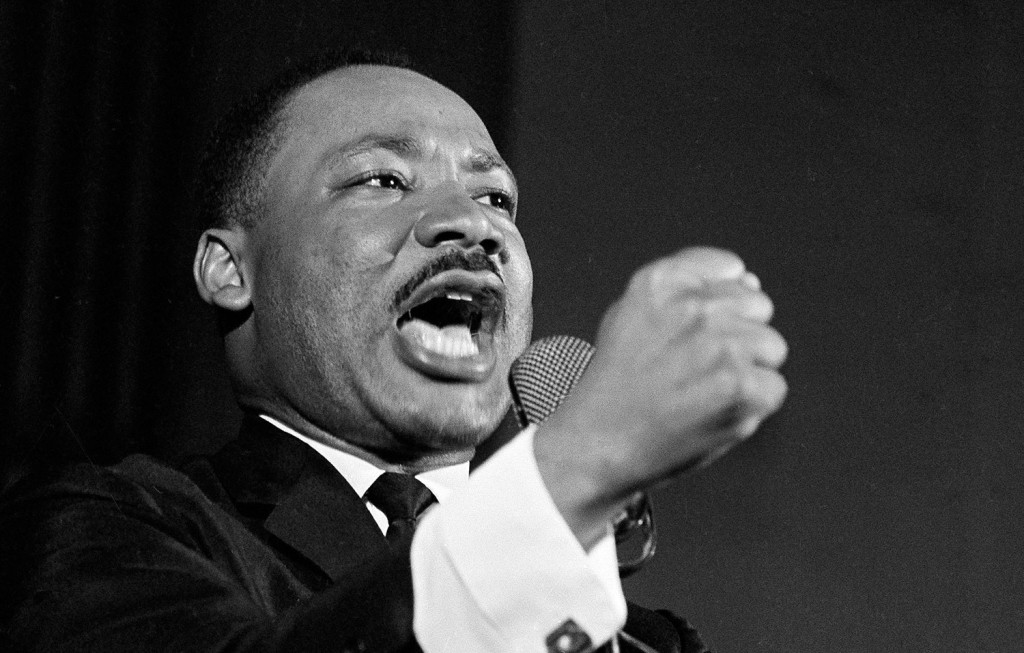 Dr. Martin Luther King Jr. delivers a speech in Selma, Alabama, Feb. 12, 1965. King was engaged in a battle with Sheriff Jim Clark over voting rights and voter registration in Selma.