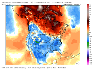 Temperature Anomaly January 2016 Credit:Weatherbell