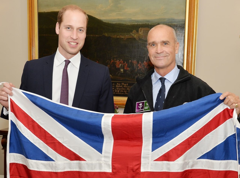 Prince William poses with Henry Worsley at Kensington Palace, in London last October. Reuters