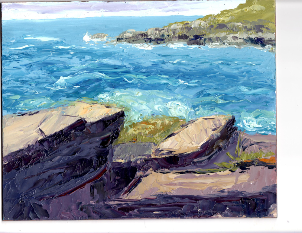 """""""Monhegan Rocks and Surf,"""" by Nora West."""