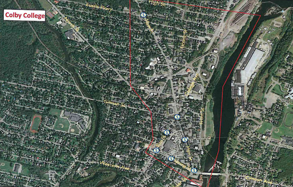 A map of Waterville shows the area that is part of a traffic study, due to be completed by the end of June, that will help the city go forward with downtown redevelopment plans.