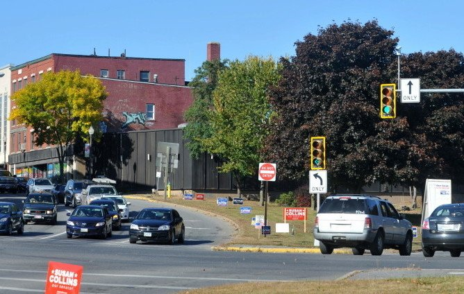 Traffic moves through the intersection of Spring, Water and Main streets in downtown Waterville in September 2014. The intersection, as well as other traffic challenges in downtown Waterville, will be the focus of a traffic study that is due to be completed by the end of June.