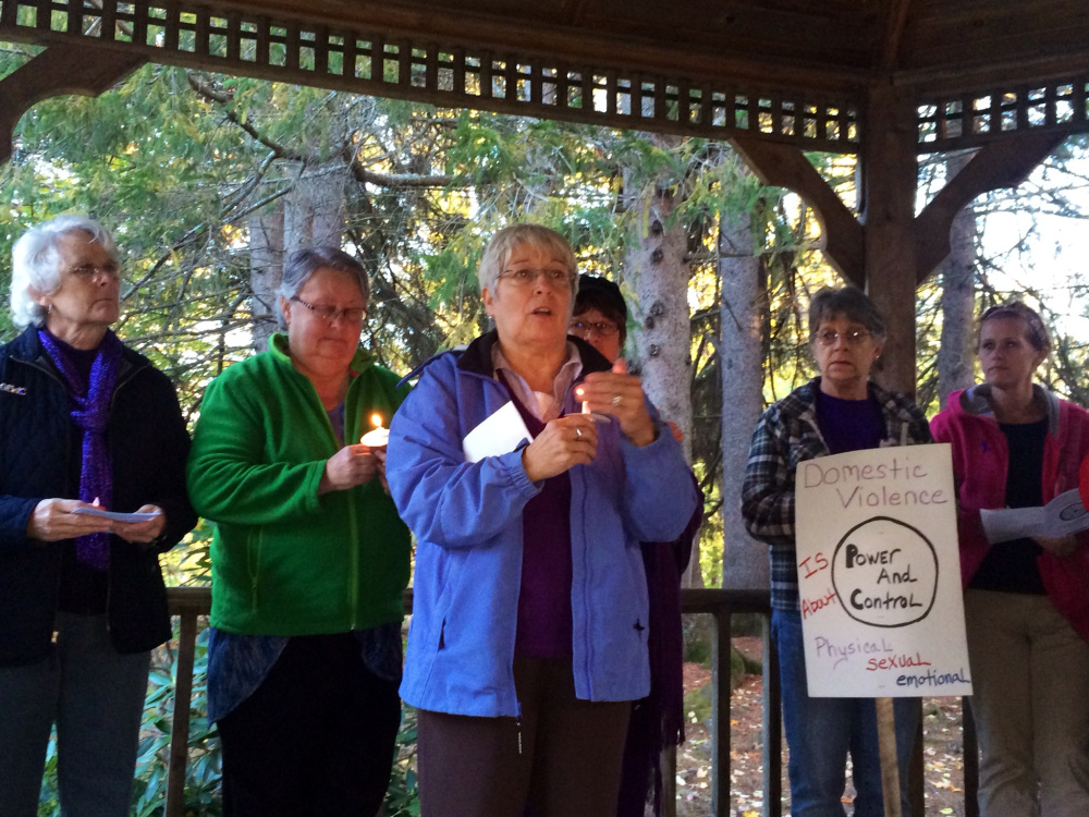 Nan Bell, a community educator at the Family Violence Project, speaks to attendees at a domestic violence awareness vigil in Skowhegan in this October file photo. She and others are planning an anti-bullying event on Sunday in Augusta.