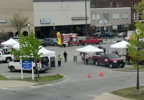 In this May 2014 file photo, the area of The Concourse is seen along downtown Main Street where the farmers market typically sets up every Thursday afternoon from April to November. The Waterville City Council on Tuesday took its first vote to approve selling part of the city-owned lot to Colby College, which has proposed building a student dormitory downtown.
