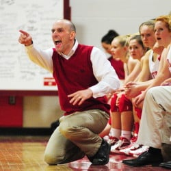 Cony coach Ted Rioux yells instructions to his Rams during a game on Feb. 4, 2014 at Cony High School in Augusta. Rioux resigned Monday.