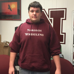 Nokomis senior Hunter Glidden poses at school Wednesday afternoon. Glidden wrestles at 285 pounds and he is 35-2 this season.