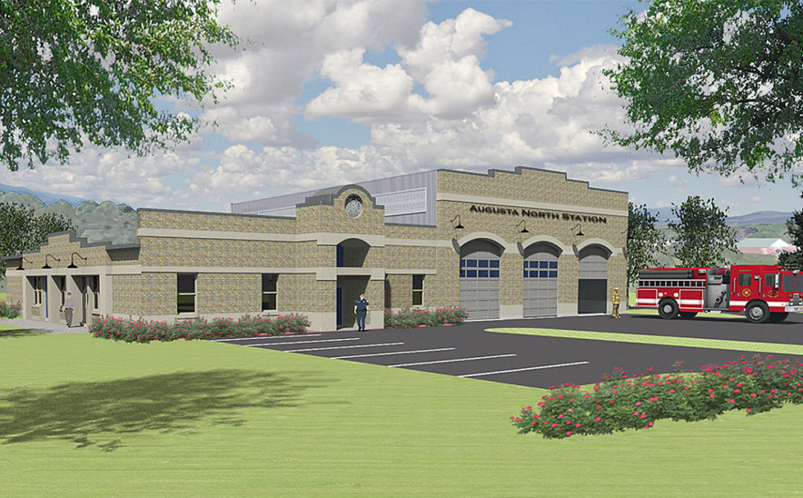 An artist's rendering of the planned fire station in north Augusta that will be built near the intersection of Anthony Avenue and Leighton Road.