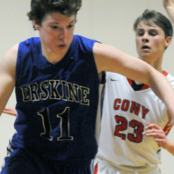 Cony's Keith Briggs, right, gets pushed aside as Erskine's Caleb Barden dribbles past him and Carter Cleaves during a game Thursday in Augusta.