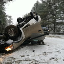No one was injured when a pickup truck rolled over on Garland Road in Winslow Friday morning.