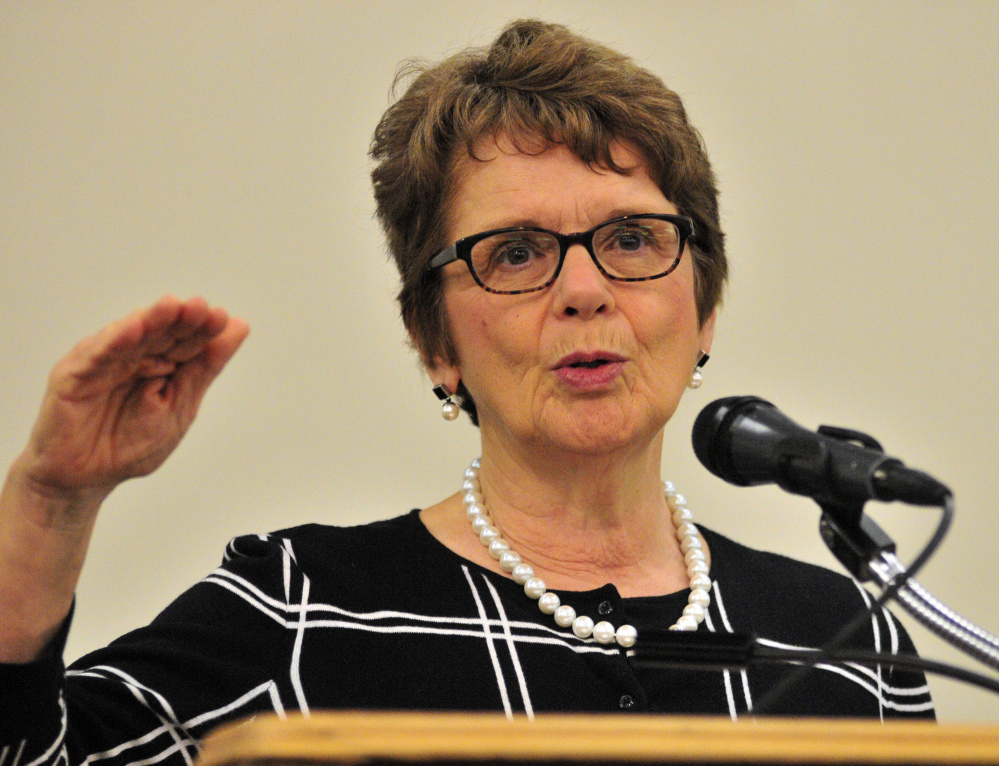 Margaret Bean, of MaineHousing, speaks about homelessness on Friday during the United Way of Kennebec Valley annual breakfast business meeting in the North Wing of the Augusta Civic Center.