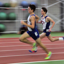 Messalonskee's Zach Hoyle, left, and Owen Conaugh compete in the mile during the KVAC indoor track championships on Saturday in Brunswick.