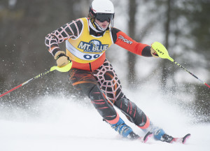 Kevin Bennett Photo Mt. Blue's Kyle Farrington competes in the boys slalom KVAC/MVC championships on Saturday at Titcomb Mountain in Farmington.