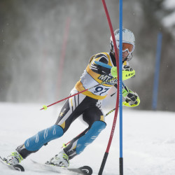 Maranacook's Nathan Delmar competes in the boys slalom KVAC/MVC championships on Saturday at Titcomb Mountain in Farmington.