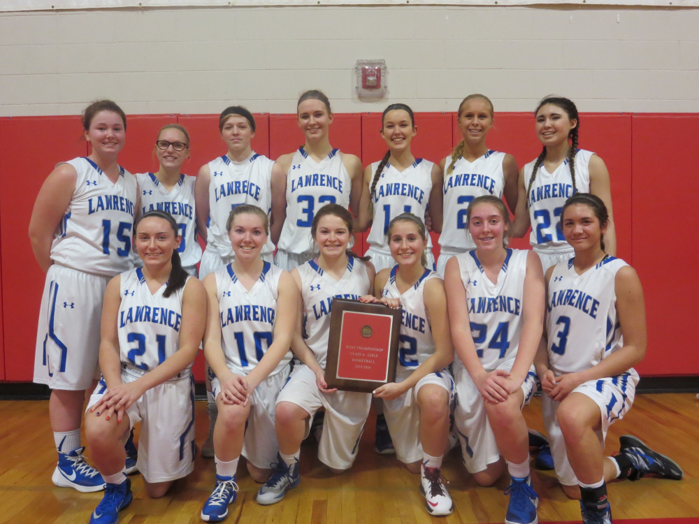 The Lawrence girls basketball team poses with the Kennebec Valley Athletic Conference Class A girls basketball plaque after defeating Oxford Hills 76-45 on Saturday at Cony High School. Front Row (L-R): Emily Tozier, Camryn Caldwell, Morgan Boudreau, Dominique Lewis, Molly Folsom and Kiana Letourneau. Back Row (L-R): Hunter Mercier, Hunter Chesley, Brooklyn Lambert, Nia Irving, Carly LaRochelle, Cassidy Quint and Olivia Patterson.