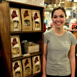 Amanda Clark is seen Monday beside some of the products her new company, The Maine Barkery, makes in Skowhegan. Clark has received a $20,000 incentive package.