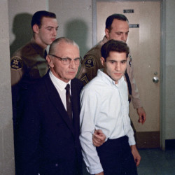 This June 1968 file photo shows Sirhan Sirhan, right, accused assassin of Sen. Robert F. Kennedy with his attorney Russell E. Parsons in Los Angeles.