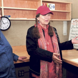 Lolly Phoenix, left, and WXNZ-LP 98.1 radio station manager Annie Stillwater discuss fundraising and work to get the station operational inside the former Somerset County jail in Skowhegan in June. The nonprofit station is holding a fundraiser to help pay license fees and other costs.