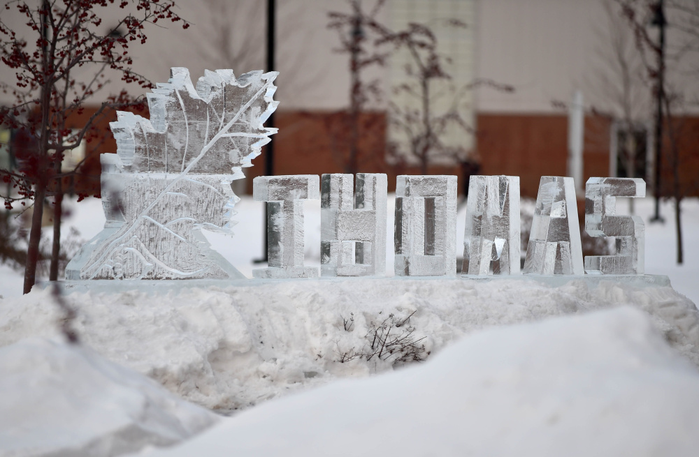 A Thomas College ice sculpture is on display at Thomas College, created Wednesday as part of student appreciation day.