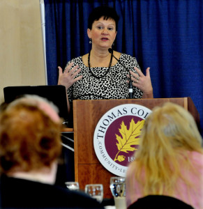 Director of the Maine Arts Commission Julie Richard speaks about how the support of arts benefits the state culturally and economically during a Mid-Maine Chamber of Commerce breakfast at Thomas College in Waterville on Thursday.