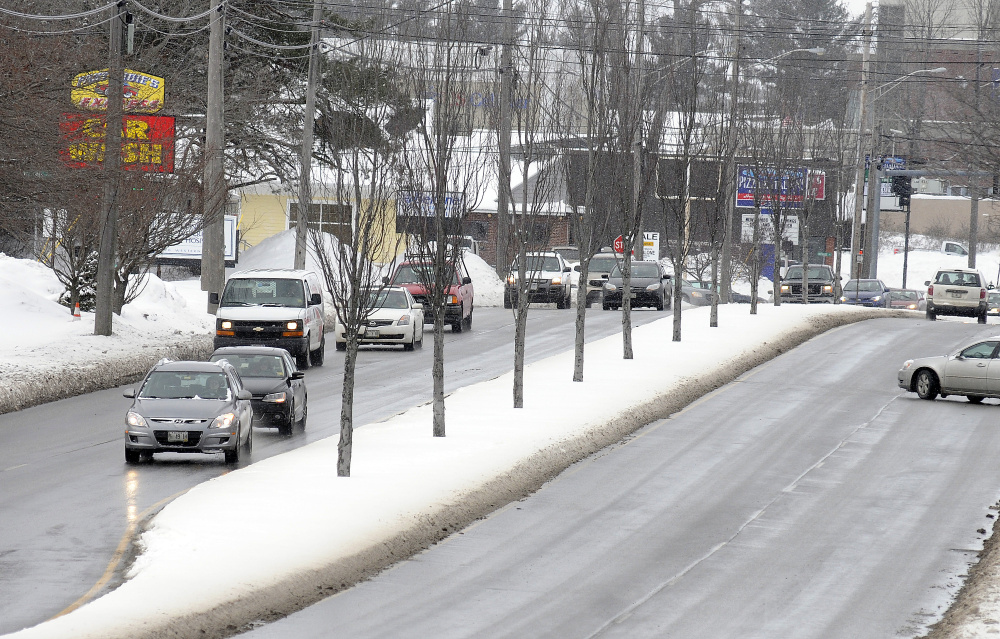Augusta city officials are looking for ways to improve the median strip on Western Avenue, seen here Tuesday.