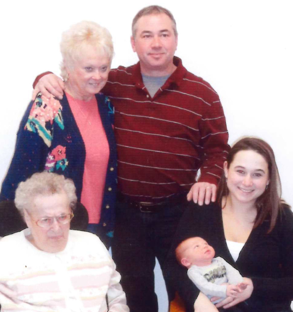 Seated, from left, are Elsie Peacock, of Augusta; and Jessica Sylvester, holding Lane Sylvester, both of Belgrade. Standing, from left, are Carol Towle, of Winthrop; and Ronald Towle, of Belgrade.