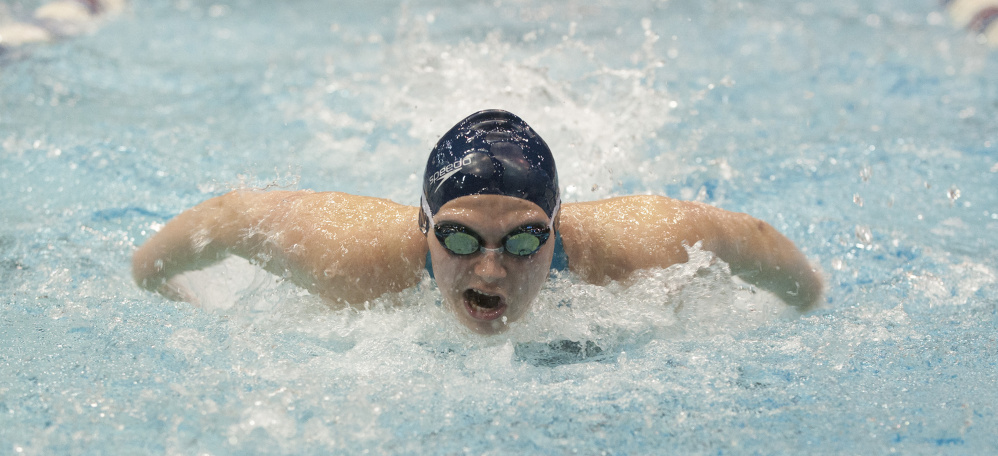 Caitlin Tycz of  Brunswick competes in the 200-yard individual medley during the Class A girls swim championships at Wallace Pool on the University of Maine campus Saturday in Orono.