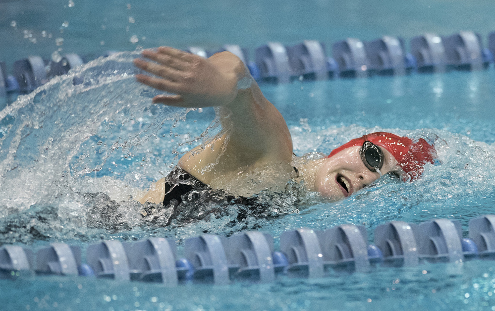 Talia Jorgensen of Cony competes in the girls 500-yard freestyle during the Class A girls swim championships at Wallace Pool on the University of Maine campus Saturday in Orono.