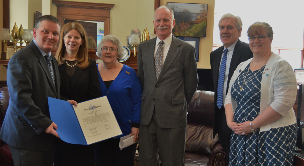 From left are Maine Senate President Michael Thibodeau, UniTel's Laurie Osgood, Beth Osler, Larry Sterrs, Jim Carlson and Rep. Mary Ann Kinney, R-Knox.