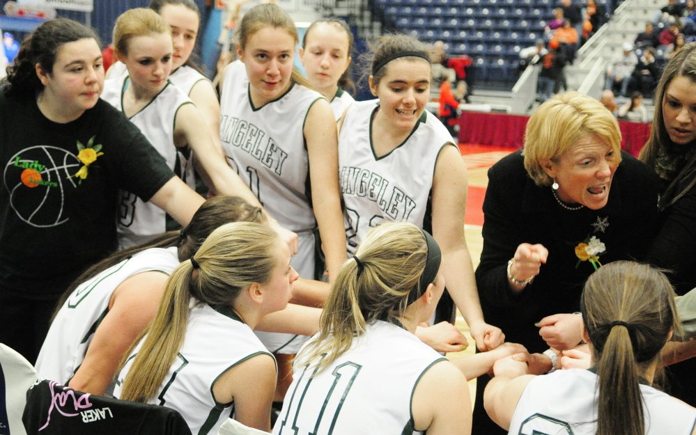Rangeley girls basketball coach Heidi Deery talks to her team in the fourth quarter of what was then the Western D title game last season at the Augusta Civic Center. The Lakers had to win games on consecutive days to reach the state final, and it will need to do so again this year.