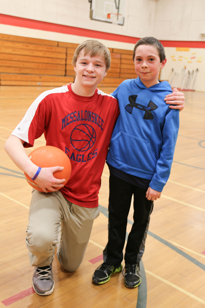 "Colby Charette (brother of Cassidy Charette) and his ""Little"" Harrison, look forward to playing basketball, board games and spending one-on-one time together each week as part of Big Brothers Big Sisters of Mid-Maine's mentoring program."