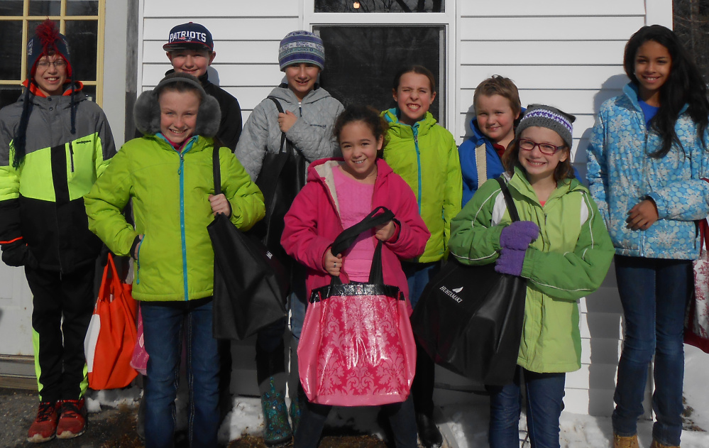 In front, from left, are Cylie Henderson, Jenna Merrow and Emily Rhoades, In back, from left, are Jack Gibson, Storer Boyden, Hope Bouchard, Makenzie Nadeau, Harry Bartley and Jaylin Woods. Missing from photo are Marcia Buck and Kelley Cloutier, advisors.